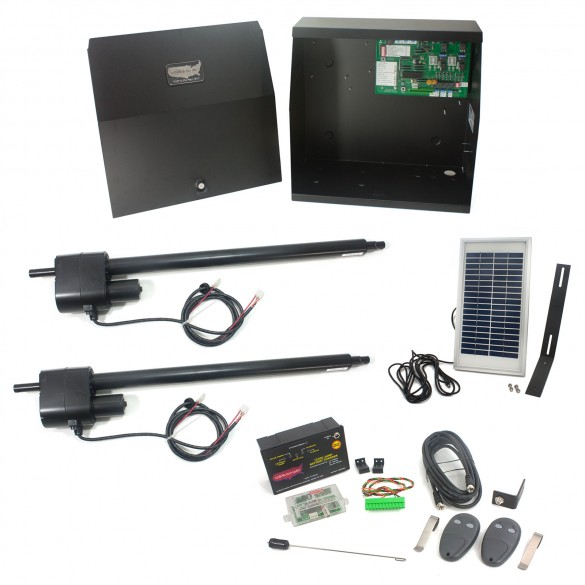 Patriot II Solar Charged Dual Swing Gate Operator with LCR Receiver, 2 Transmitters & Solar Panel