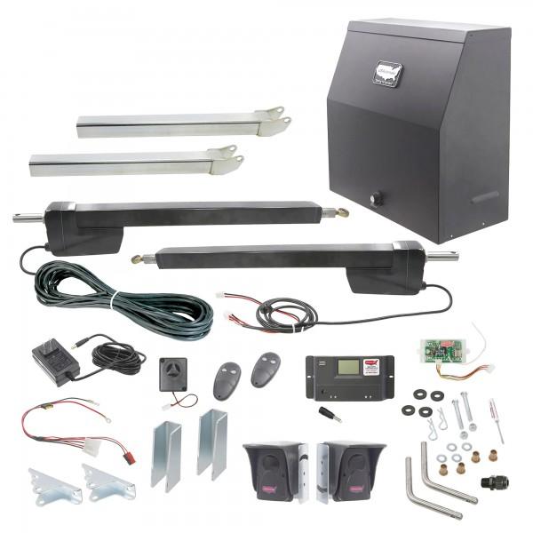 Ranger HD Dual Gate AC Charged Swing Gate Operator w/ Radio Controls (Galvanized) - USAutomatic 020521