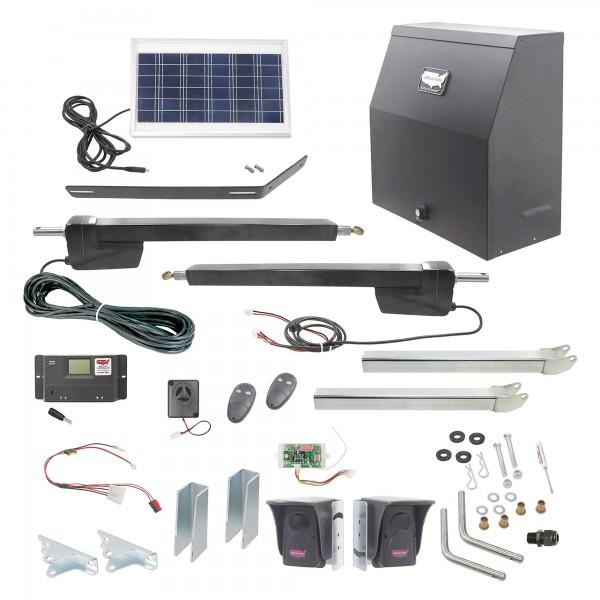 Ranger HD Dual Gate Solar Charged Swing Gate Operator w/ Radio Controls (Galvanized) - USAutomatic 020523
