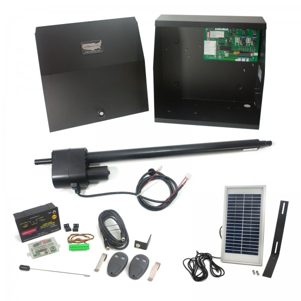 Patriot I Solar Charged Single Swing Gate Operator with LCR Receiver, 2 Transmitters & Solar Panel