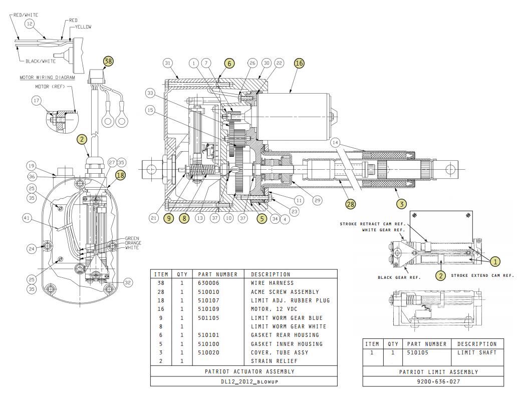 USAutomatic Patriot Actuator Parts Diagram